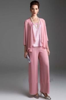 Σιφόν Σέσουλα 4 Μήκος Μανικιού Κομψό Κοντομάνικο Παντελόνι κοστούμι φόρεμα