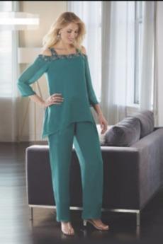 Χάντρες Φυσικό Κοντομάνικο Λαμπερό Σιφόν Παντελόνι κοστούμι φόρεμα