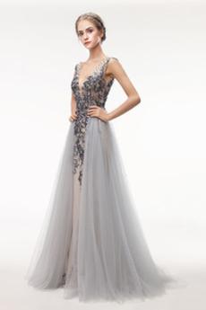 Καλοκαίρι Λαιμόκοψη V Αμάνικο Γραμμή Α Φυσικό Μπάλα φορέματα
