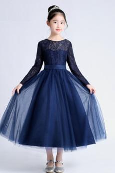 Τονισμένα τόξο Μακρύ Μανίκι Τούλι Έτος 2020 Λουλούδι κορίτσι φορέματα