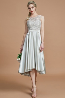 Φερμουάρ επάνω Φυσικό Μέχρι το Γόνατο Ασύμμετρη Παράνυμφος φορέματα
