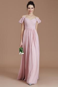 σύγχρονος Φυσικό Προσαρμοσμένες μανίκια Μήκος πατωμάτων Παράνυμφος φορέματα