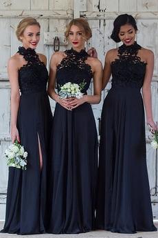 Δαντέλα Άνοιξη Κομψό Γραμμή Α Δαντέλα επικάλυψης Παράνυμφος φορέματα
