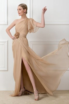 Ένας Ώμος Φυσικό Ασύμμετρα μανίκια Πολυτελές Βραδινά φορέματα