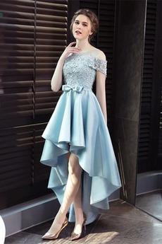 Σατέν Φυσικό Δαντέλα-επάνω Αχλάδι Ασύμμετρη Μπάλα φορέματα