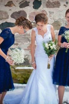 Γραμμή Α Δαντέλα Κοντομάνικο Πολυτελές Χάνει Παράνυμφος φορέματα