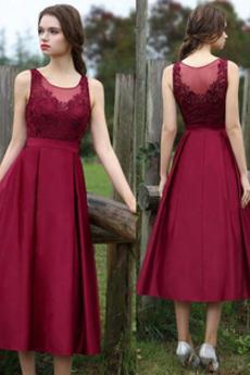 Φυσικό Δαντέλα επικάλυψης Αμάνικο Καλοκαίρι Βραδινά φορέματα