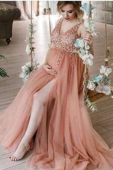 Βραδινά φορέματα Άνοιξη Έτος 2021 Τούλι Φερμουάρ επάνω Βαθιά v-λαιμός