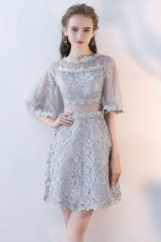 Φυσικό Γραμμή Α Δαντέλα Κομψό Φθινόπωρο Μισό Μανίκι Κοκτέιλ φορέματα