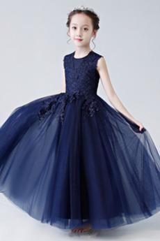 Κομψό Καλοκαίρι Δαντέλα Γραμμή Α Αμάνικο Λουλούδι κορίτσι φορέματα