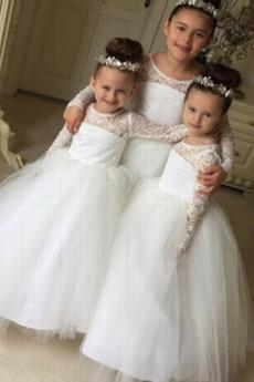 Λουλούδι κορίτσι φορέματα Άνοιξη Φυσικό Χάνει κλιμακωτή Ψευδαίσθηση Δαντέλα