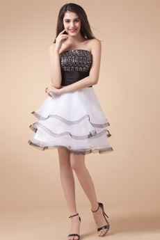 Οργάντζα Φυσικό Αμάνικο πολλαπλών στρώμα Βραδινά φορέματα