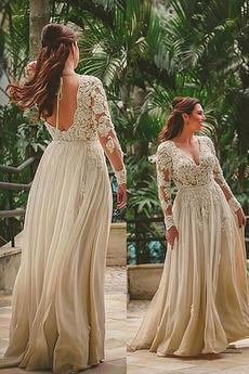 Δαντέλα επικάλυψης Λαιμόκοψη V Γραμμή Α Τούλι Βραδινά φορέματα