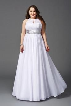 Διακοσμημένες με χάντρες ζώνη Κομψό Γραμμή Α Βραδινά φορέματα