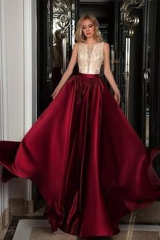 Κομψό Χάντρες Χάνει Σατέν Έτος 2020 Σέσουλα Μπάλα φορέματα