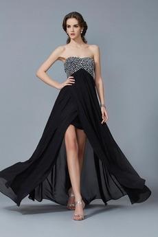 Φυσικό Κομψό Ασύμμετρη υψηλή Χαμηλή εξώπλατο Μπάλα φορέματα