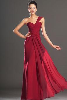 Φυσικό Φερμουάρ επάνω Ένας Ώμος Σιφόν Κομψό Βραδινά φορέματα