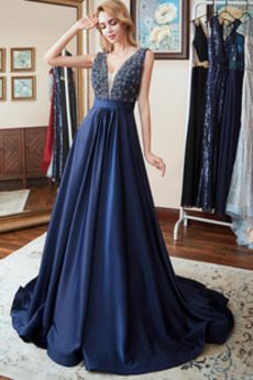 Αμάνικο Καλοκαίρι Λαιμόκοψη V Επίσημη Βαθιά v-λαιμός Μπάλα φορέματα
