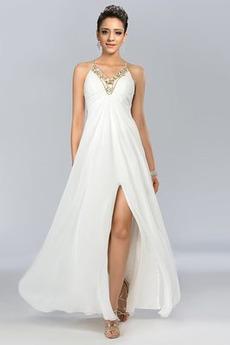 Λαιμόκοψη V Σιφόν Γραμμή Α Κόσμημα τονισμένο μπούστο Μπάλα φορέματα