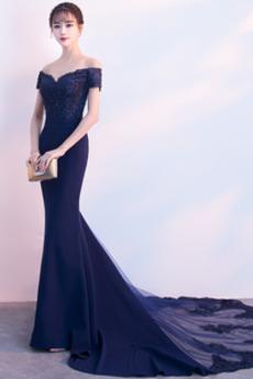 Φερμουάρ επάνω Μακρύ Κοντομάνικο Μικρό Δαντέλα επικάλυψης Βραδινά φορέματα