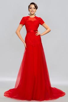 Κομψό Γραμμή Α Τούλι Χάντρες Κοντομάνικο Βραδινά φορέματα