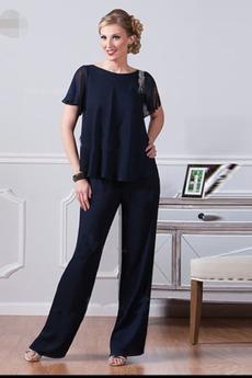 Υψηλή καλύπτονται Χαλαρά μανίκια Σιφόν Ρετρό Παντελόνι κοστούμι φόρεμα