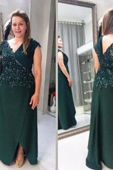 Μητέρα φόρεμα Δαντέλα επικάλυψης Βαθιά v-λαιμός Λαιμόκοψη V Κόσμημα τονισμένο μπούστο