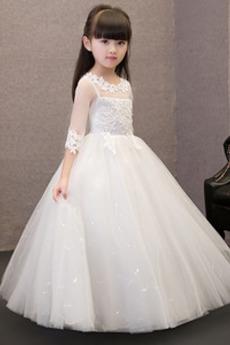 Δαντέλα επικάλυψης Ψευδαίσθηση 4 Μήκος Μανικιού Λουλούδι κορίτσι φορέματα