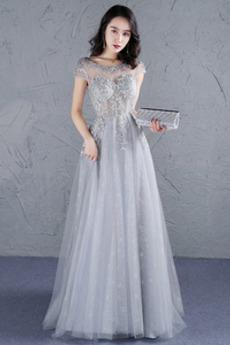 Φυσικό Προσαρμοσμένες μανίκια Δαντέλα-επάνω Μπάλα φορέματα