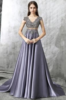 Λαιμόκοψη V Φυσικό Ντραπέ Κομψό Καθαρή πλάτη Μπάλα φορέματα