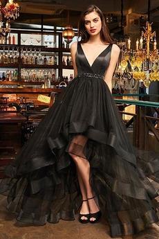 Μπάλα φορέματα Ρομαντικό Αμάνικο Σατέν Καλοκαίρι Διαδοχικά Βολάν Φερμουάρ επάνω