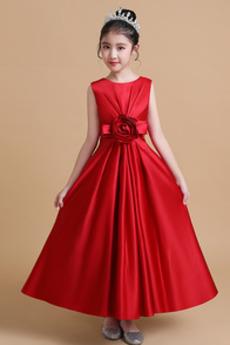 Σατέν Μέχρι τον αστράγαλο Κομψό Οι πτυχωμένες μπούστο Λουλούδι κορίτσι φορέματα