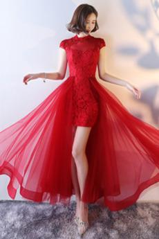 Δαντέλα Γραμμή Α κούνια Κοντομάνικο Κοντομάνικο Μπάλα φορέματα