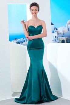 Ελαστικό σατέν Αμάνικο απλός Τραίνο σκουπισμάτων Βραδινά φορέματα