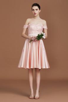 Φυσικό Προσαρμοσμένες μανίκια Μίνι Ελαστικό σατέν Παράνυμφος φορέματα