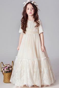 Έτος 2019 Γραμμή Α κούνια Κοντομάνικο Μέχρι τον αστράγαλο Λουλούδι κορίτσι φορέματα