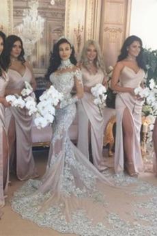 Σέξι Μπροστινό σχισμή Ντραπέ Φυσικό Αμάνικο Παράνυμφος φορέματα