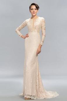 Ντραπέ Φθινόπωρο Δαντέλα Φυσικό Ψευδαίσθηση Βραδινά φορέματα