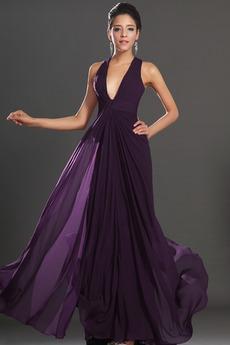 Αχλάδι Καλοκαίρι Πολυτελές Οι πτυχωμένες μπούστο Βραδινά φορέματα