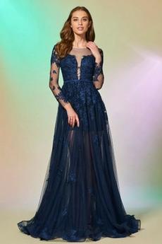 Φυσικό Μακρύ Μανίκι βάρκα Ψευδαίσθηση Γραμμή Α Βραδινά φορέματα
