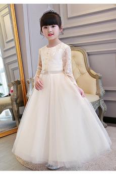 Μακρύ Μανίκι Φυσικό πολλαπλών στρώμα Τονισμένα τόξο Λουλούδι κορίτσι φορέματα