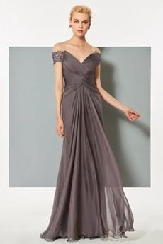 Ρετρό Σιφόν Γραμμή Α Πλισέ εξώπλατο Κοντομάνικο Βραδινά φορέματα