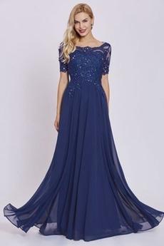 Επίσημη Κεντήματα Κοντομάνικο Γραμμή Α Δαντέλα Βραδινά φορέματα