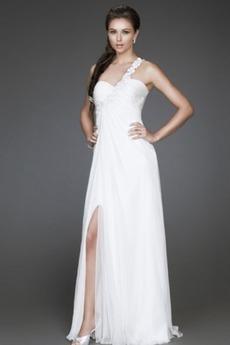εξώπλατο Λουλούδι Σιφόν Λαμπερό Μέση αυτοκρατορία Βραδινά φορέματα