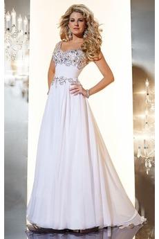 Αμάνικο Ευρεία λουριά Σιφόν Γραμμή Α Μακρύ Βραδινά φορέματα