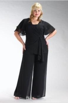 Κομψό Φυσικό Χαλαρά μανίκια Κοντομάνικο Τετράγωνο Παντελόνι κοστούμι φόρεμα