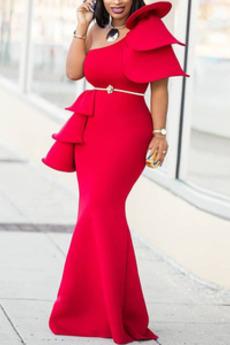 Μπάλα φορέματα Φυσικό Αμάνικο σικ & σύγχρονος Γοργόνα Διαδοχικά Βολάν