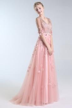 Ψευδαίσθηση Φερμουάρ επάνω Τούλι Λαιμόκοψη V Μπάλα φορέματα