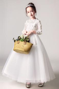 Χάνει Επίσημη Κόσμημα Φυσικό Μακρύ Μανίκι Λουλούδι κορίτσι φορέματα