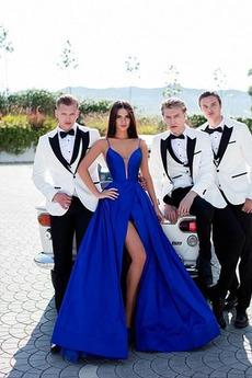 Τιράντες σπαγγέτι Μηρό-υψηλές σχισμή Άνοιξη Βραδινά φορέματα